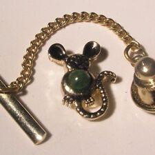 Mouse Jade Green Cabochon Vintage Lapel Pin animal gift