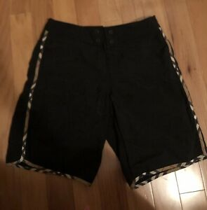 burberry london mens nova check black nylon swim trunks shorts Small