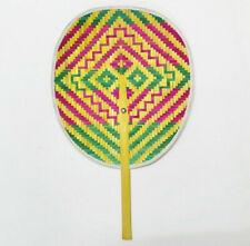 Fan hand weave bamboo thai handmade folk art craft vintage design decorate