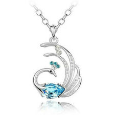 Women Silver Gold Filled Crystal Blue CZ Necklace PEACOCK Gift Box F15