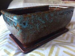 Studio Art Pottery Small Planter Cactus Brown Turquoise Glaze