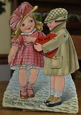vintage antique Valentine card, German stand up, moving arms, rare unique Nice
