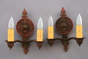 Pair 1920s Spanish Revival Original Finish Sconces Sconce Wall Lamp Light (4183)