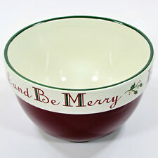 """Target Home HOLLY - EAT DRINK BE MERRY 24oz Soup Cereal 6"""" Bowl Red Green"""