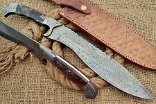 HUNTEX Custom Handmade Damascus Steel 40 cm Long Ram Horn Hunting Machete Knife