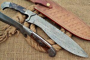 HUNTEX Custom Handmade Damascus Steel 400 mm Long Ram Horn Hunting Machete Knife