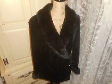 New listing Patra 2Pc Black Velvet Jacket Faux Fur Trim , Elastic Waist Pants 12