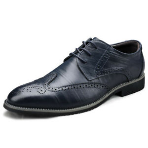 New Business Carved Pattern Lace-Up Faux Leather Shoes Men's Formal Dress Brogue