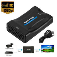 1080P HD SCART to HDMI Adapter Video Audio Upscale Converter USB Cable TV DVD UK