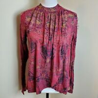 Free People Nouveau Blouse Top Berry Comb Lace Keyhole Split Front Size S NWT
