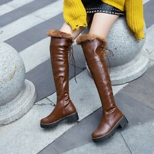 New Women's Round Toe Platform Block Heels Over The knee Boots Fur Lining Shoes