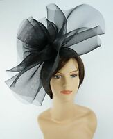 New Church Derby Wedding Fascinator Dress Hat with Headband FS-02 Black