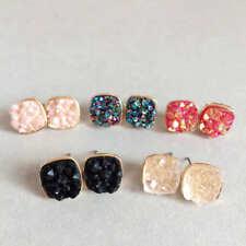 2019 Fashion Multicolors Mini Spuare Quartz Drusy Stud For Women Earring Jewelry