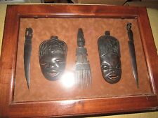 LOT OF 5 AFRICAN CARVED WOOD KNIVES HEAD SCULPTURES COMB IN LOCKED BOX VGUC