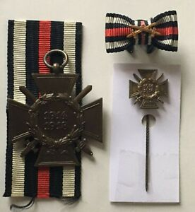 MEDAL GERMAN WW1 CROSS OF HONOUR WITH SWORDS COMBATANT + STICKPIN + BUTTONHOLE