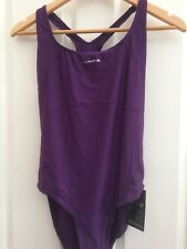 Olympus Womens Purple  Racerback Cutout Swimming Costume Size 14 BNWT