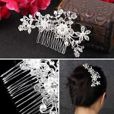 Diamond Bridal Wedding Flower Silver Plated Stunning Sparkling Hair Comb Pin UO