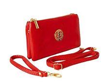 SMALL RED MULTI POCKET CROSSBODY SHOULDER BAG LIGHTWEIGHT SLIM PURSE CLUTCH BAG