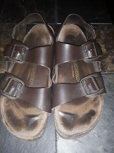 Birkenstock Mens Milano Dark Brown Leather ankle straps Sandals Sz EUR47/ US 14