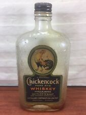 Vintage Embossed Glass Paper Label Advertising Chickencock Rye Whiskey Bottle