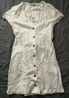 & Other Stories Women's White Cotton Blend Mini Dress Size 34 UK 6 New With Tags
