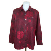 Chico's Design Women's Red Asian Print Long Sleeve Button Up Sz 1 Medium