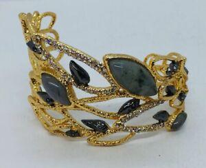 Alexis Bittar Yellow Gold Plated Labradorite Rhinestone Feather Wing Bracelet