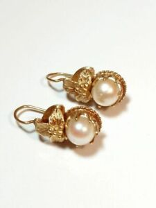 Vintage 18K Yellow Gold and Gold color Pearl Hanging earrings