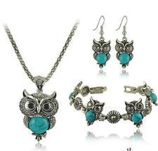 Jewelry Sets Tibetan Vintage Silver Retro Turquoise Stone Pendant Necklace xmas