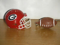 GEORGIA BULLDOGS HELMET AND FOOTBALL CEILING FAN GOLD PULL CHAIN SET