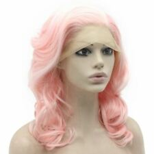 Shoulder Length Pink Wig Synthetic Lace Front Cosplay Party Wavy Wig