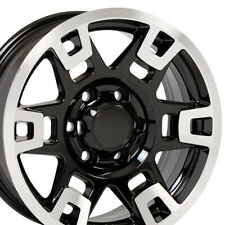 "17"" Rim Fits Toyota Truck 4Runner TRD H Spoke TY16 Black Mach'd 75167 17x7 Wheel"