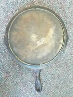 VINTAGE LODGE 3 NOTCH NO. 10 s CAST IRON SKILLET FRYING PAN WITH HEAT RING NR