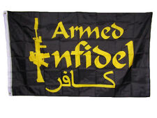 3x5 Armed Infidel m4 Rifle Black and Gold Flag 3'x5' House Banner Grommets