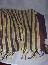 Brown Scarf with Yellow Silver Metallic Stripe  by Etole France  NEW with tag