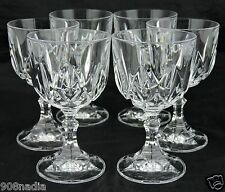 VINTAGE CLEAR GLASS OR CRYSTAL WINE/WATER SET 6 STEMWARE GLASSWARE