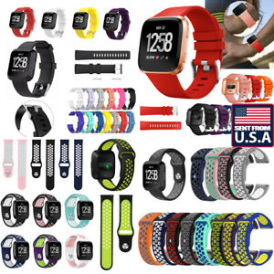 US For Fitbit Versa Versa Lite Silicone Stainless Steel Watch Band Wrist Strap d