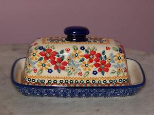 Polish Pottery American Butter Dish! UNIKAT Signature Rembrandt Pattern!