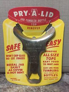 Vintage NOS Pry-A-Lid Mason Jar Tumbler Bottle Lid Opener Top Remover Utensil