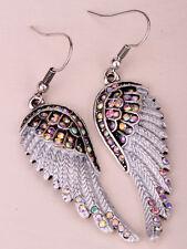 Angel wings dangle punk earrings women biker bling jewelry gifts silver AB EC23