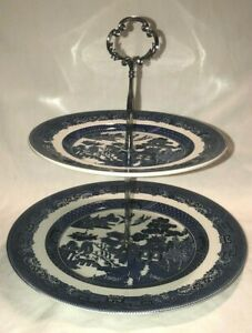 Blue Willow Johnson Bros 2 Tier vintage cupcake stand or fruit/cookies/tidbits
