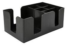 Black Bar Tidy Caddy Straw Stirrer Napkin Pub Bar Aide Storage Condiments Holder