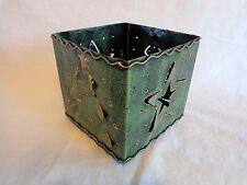 "Decorative GREEN METAL BOX Die Cut 6"" Square Tree Star Christmas Card Holder"