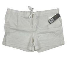 NWT Daisy Fuentes White Linen Cotton Shorts Drawstring Sz Large Comfort Zone $40