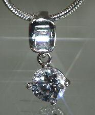 Sparkling 1ct Created Brilliant & Rectangle Diamond Pendant + Chain
