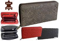 Damen Geldbörse Geldbeutel aus geprägtem Leder viele Fächer mit Reißverschluss