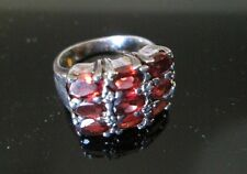 Vintage STERLING SILVER Ring*TRIPPLE ROW RED facetted stones*sz 7          *7265