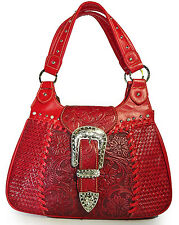 Trinity Ranch Tooled Leather Western Shoulder Bag- Red