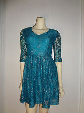 KENSIE- Blue/Silver Metallic Floral Lace Dress 3/4 Lace Sleeve- Size Small