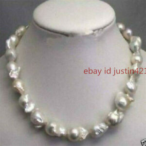 """Large 15-23mm White Unusual Baroque Pearl Classic Necklace disc Clasp 18"""" AAA"""